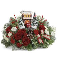 Festive Fire Station Bouquet By Thomas Kinkade