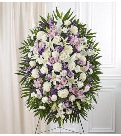 Standing Spray Sympathy White  & Lavender