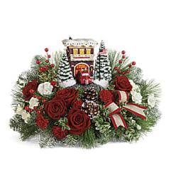 Thomas Kinkade's Festive Fire Station Bouquet 2019 (Red)