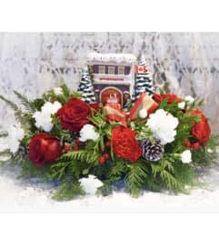 Thomas Kinkade Festive Fire Station Bouquet