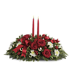 The Teleflora Holiday Shimmer Centerpiece