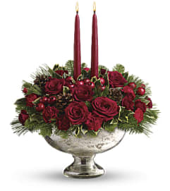 The Teleflora Mercury Glass Bowl Bouquet