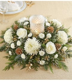 ALL WHITE AND GOLD CENTERPIECE