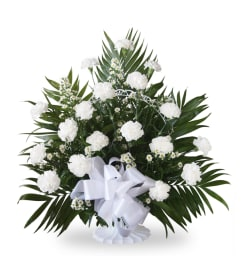 Floor Basket-White Carnations