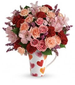 LOVELY HEARTS MUG BOUQUET