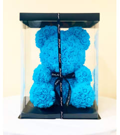 Medium Blue Rose Bear