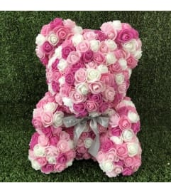 Multicolored Pink Rose Bear