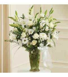 VASE OF ASSORTED WHITE FLOWERS