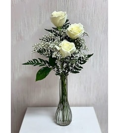 Bud Vase-White Roses