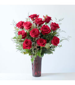 1 Dozen Red Roses in a Red Vase