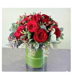 1 Dozen Red Roses in a Cylinder Vase