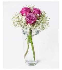 Bud Vase-Lavender Roses & Babies Breath (No foliage)