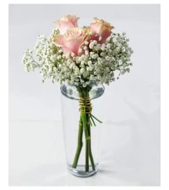Bud Vase-Pink Roses & Babies Breath (no foliage)