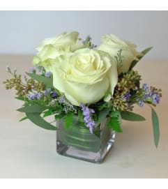 3 White Roses in a small cube