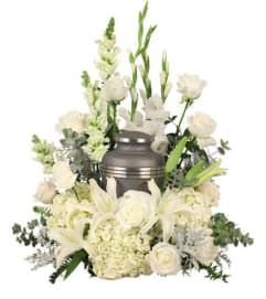 TRAY OF ASSORTED WHITE GARDEN FLOWERS FOR ANY URN