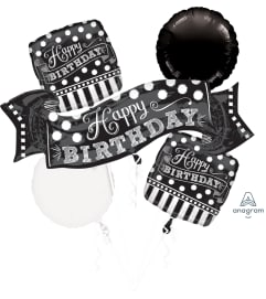 Black and White Caulk Board Balloon Bouquet