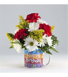 Happy Birthday-Mug with Flowers