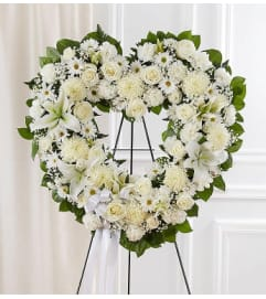 Open Heart Wreath- White