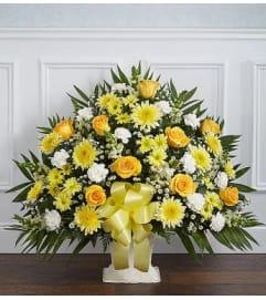 Funeral Floor Basket- Yellow