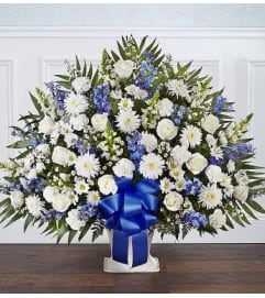 Funeral Floor Basket Blue and White
