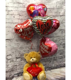 Valentine's Balloons Bouquet with Brown Bear