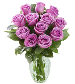 DOZEN PURPLE ROSES ARRANGED