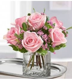DOZEN PINK ROSES ARRANGED LOW & DENSE IN A VASE