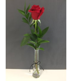 SINGLE RED ROSE IN TALL BUD VASE