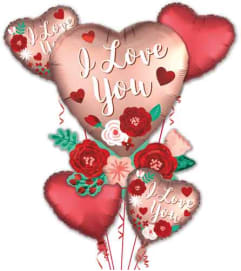 Satin Heart With Flowers High Flying Balloon Bouquet