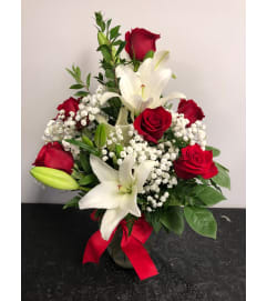 1/2 Dozen Roses and Lilys
