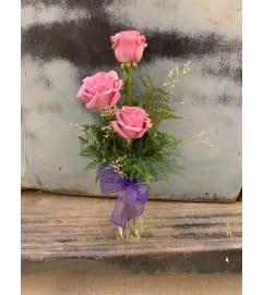 Three Rose Lavander Bud Vase
