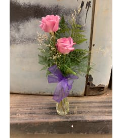 Two Lavander Rose Bud Vase