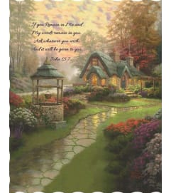 Make a Wish Cottage Tapestry Throw by Thomas Kinkade