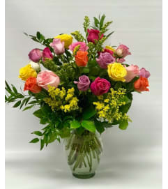 2 Dozen Mixed Roses with Fillers