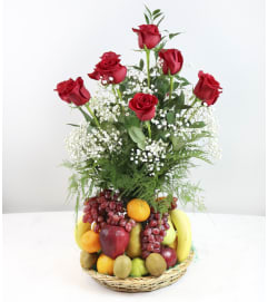 Fresh Fruit with Roses Basket