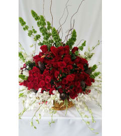 Stunning Red Roses and White Orchids
