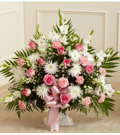 Pink Mache Sympathy Basket