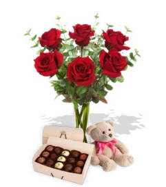 Roses Chocolates and Teddy Bear