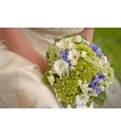 Violet and Green Bridal Bouquet