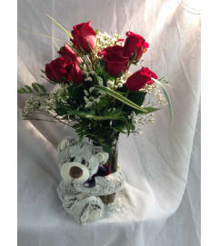 Cuddly Big Bear Hug Vase