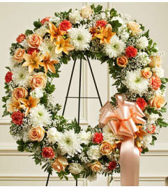 Peach, Orange and White Standing Wreath