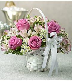Flower Arrangement Girl Purple Elegance