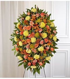 Sympathy Standing Spray in Fall Colors