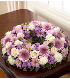 Purple White Cremation Wreath