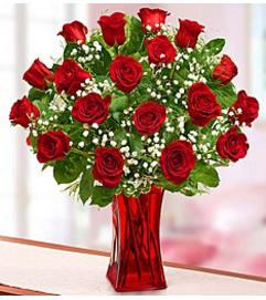 Premium Red Roses in Red Vase