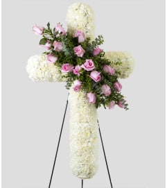 Standing Cross with White and Pink Carnations