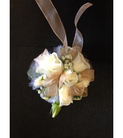 white mini rose corsage