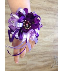 purple stock corsage