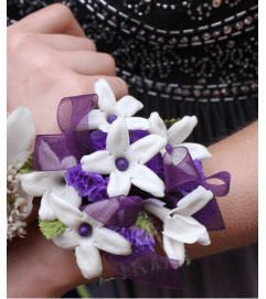 Purple Stephanotis Corsage