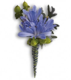 Bold and Blue Boutonniere